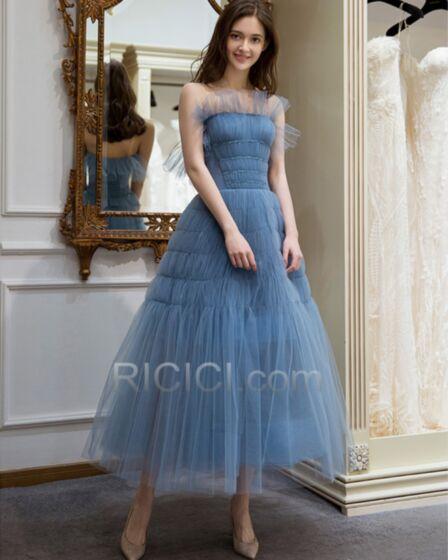 Robe De Ceremonie Mi Longue Bleu Nuit Boheme Robe De Bal Dos Nu Tulle Princesse Sans Manches Plissée Bustier