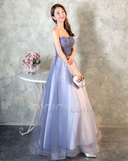 Robe De Bal Bustier Perlage Robe Soirée Longue Lavande Tulle Princesse Sequin Scintillante
