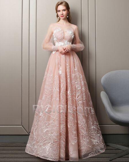 Princesse Simple Col Bateau Transparente Rose Pastel Appliques Dentelle Robe De Fête Robe De Bal Longue