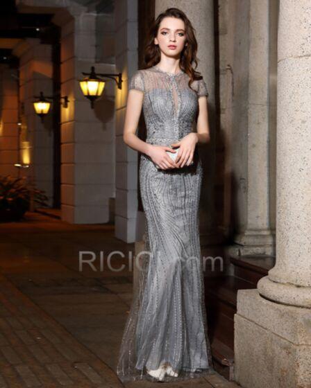 Élégant Robe Mère De Mariée Glitter Brillante Fourreau Robe Gala Décolleté Grise