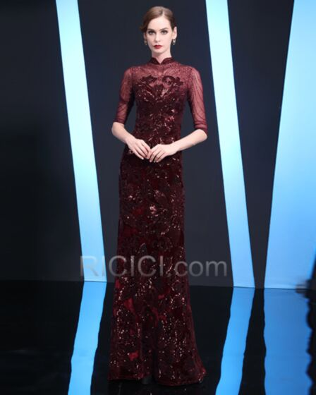 Appliques Robes De Soirée Longue Bordeaux Col Haut Élégant Sequin Robe Gala Princesse Robe Mère De Mariée Brillante