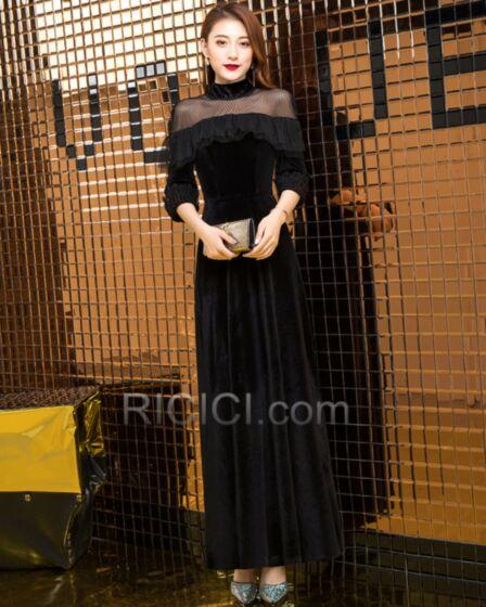 LBD Transparente Peplum Velours Élégant Longueur Cheville Robe De Cocktail Évasée Col Haut Noire Robe De Ceremonie