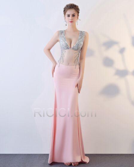 Robe De Bal Dos Nu Décolleté Sexy Fourreau Transparente Rose Poudré Robe Gala Paillette Sans Manches Satin Robe De Soirée