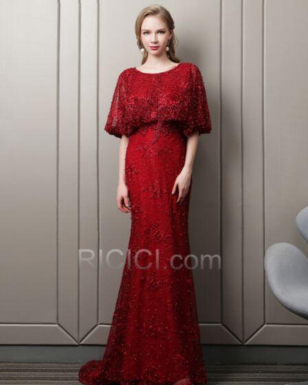 Avec La Queue Longue Perlage Demi Manche Robe Gala Robes De Soirée Élégant Luxe Modeste Fourreau Dentelle