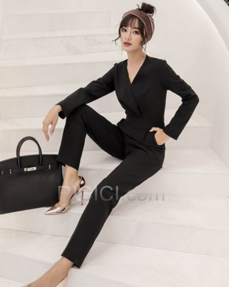 Bureau Combinaison Manche Longue Robe Casual Noir Maxi Modeste Portefeuille