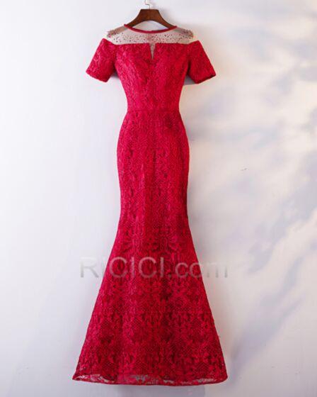 Sirène Robe De Ceremonie Longue Robe Demoiselle D honneur Robe De Soirée Rouge Epaule Dénudée