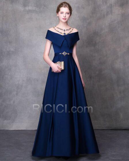 Princesse Epaule Dénudée Bleu Roi Satin Robe De Bal Transparente Sexy Tulle Robe Soirée