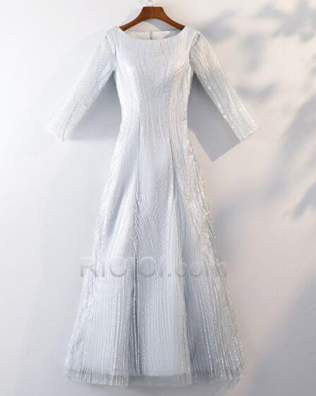 Longue Robe Cocktail Glitter Manche Longue Robe De Ceremonie Blanche