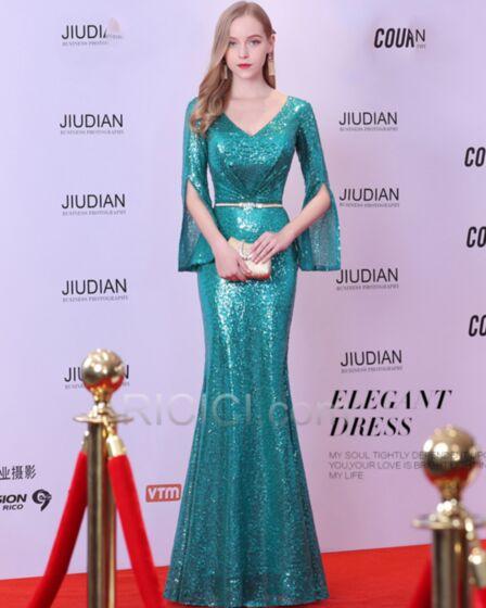 2018 Luxe Sequin Scintillante Robe Gala Sirène Vert Emeraude Demi Manche