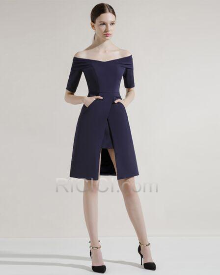 Fendue Courte Peplum Simple Robe Pour Mariage Bleu Marine Epaule Dénudée Fourreau 2018