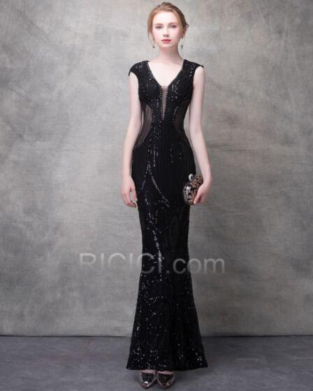 Sequin Sexy Noir Tulle Brillante Robe Club