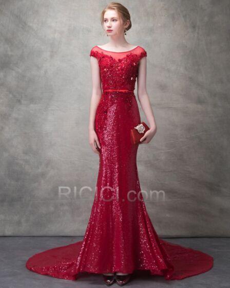 Perlage Sirène Sans Manches Brillante Paillette Rouge Luxe Robes De Soirée