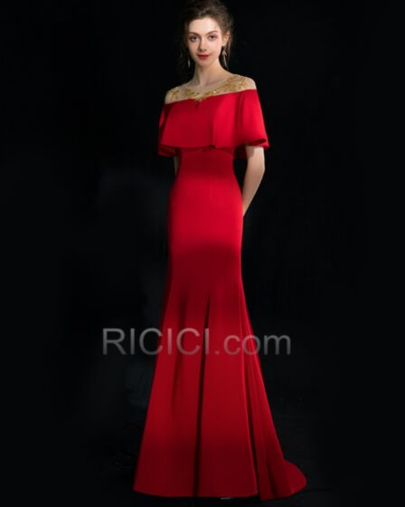 Longue Epaule Dénudée Perlage Satin Peplum Robe De Bal Robe De Soirée Rouge Élégant
