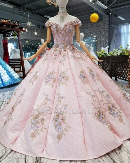Dentelle Boule Brillante Sans Manches Robes De Bal Luxe Glitter Rose Clair D hiver