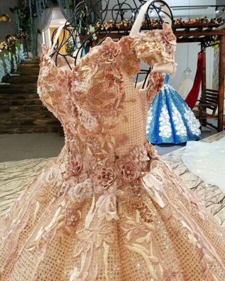 Or Rose Robe De Bal Longue Epaule Dénudée Dentelle Scintillante Sequin Luxe Boule Glitter Sans Manches Robe Fiancaille