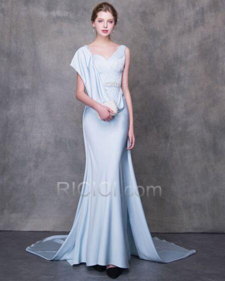 Avec La Queue Perlage Satin Longue Robe De Soirée Robe Mère De Mariée Bleu Clair Belle Empire