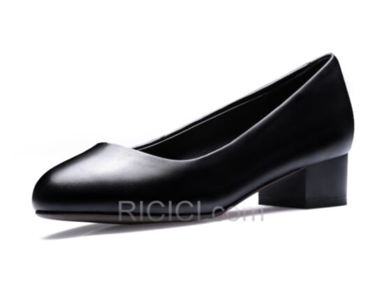 Red Bottoms Pointed Toe Black Block Heel Pumps Thick Heel Leather Office Shoes 2018 Classic Kitten Heel 3 cm / 1 inch