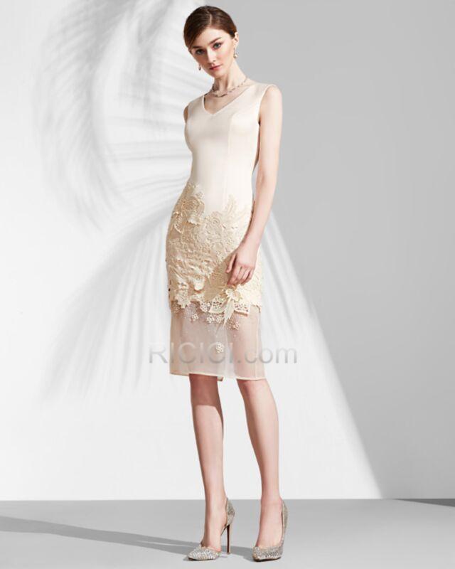 Mi Longue Robe De Ceremonie Pour Mariage Casual Bureau Luxe Elegant Champagne Robe D Ete Ajouree Sans Manches Satin Droite Ricici Com