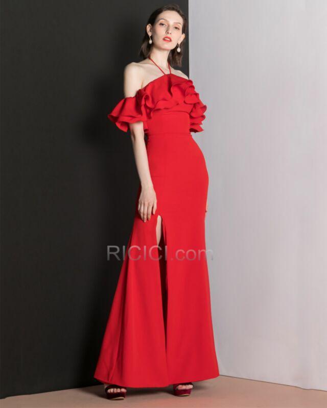 Originale Longue A Volants Robe De Soiree Fendue Fourreau Robe Pour Mariage Mousseline Rouge Epaule Denudee Dos Nu Online 3419121289 1 Ricici Com