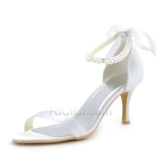 Sommer Weiß Schleife Perle 8 cm / 3 inch Satin Braut Brautjungfern Schuhe Damen Stilettos Sandaletten Highheels
