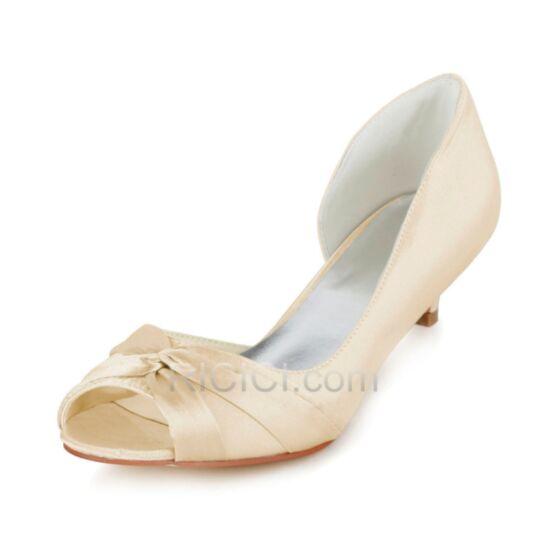 4 cm Satin Brautjungfern Braut Pumps Peeptoes Schuhe Damen Stilettos Volant D orsay Champagner Highheels