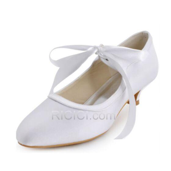 Sommer Stilettos Spitz Satin Brautjungfern Braut Pumps 4 cm Schuhe Weiß Highheels