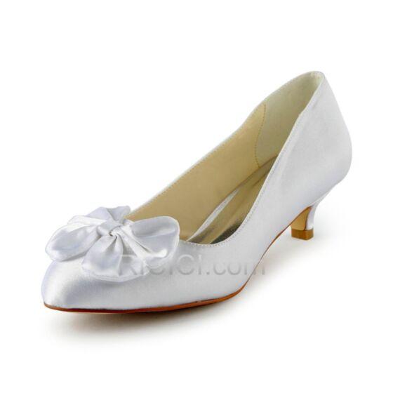 Brautjungfern Braut Schuhe Damen Schleife Pumps Stilettos Highheels 5 cm / 2 inch Satin