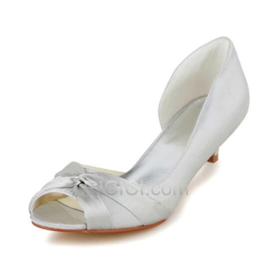 Volant Highheels 5 cm / 2 inch Braut Brautjungfern Schuhe Ivory / Beige Stilettos Pumps Satin Peeptoes
