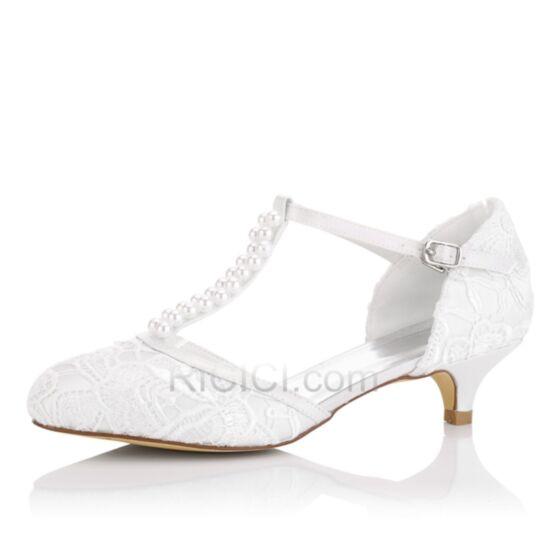 Highheels Braut Schuhe Damen Sandalen 5 cm Mit Spitze T Strap Stilettos