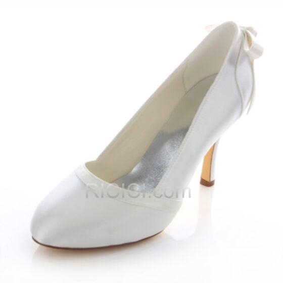 Hochhackige Braut Brautjungfern Pumps Weiß Satin Highheels Stilettos Schleife 9 cm Schuhe