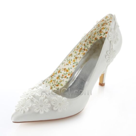 Stiletto Pointed Toe Spring Heels With Lace Bridesmaid Bridal Shoes For Women Pumps