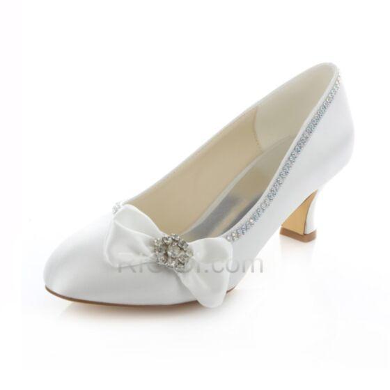 Satin Brautjungfern Braut Pumps Spitz Highheels Stilettos Weiß Schuhe Damen Schleife Strasssteine