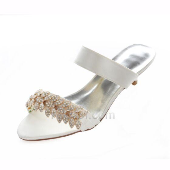 Strasssteine 4 cm Braut Brautjungfern Schuhe Satin Stilettos Highheels Sandalen Peeptoes Weiß