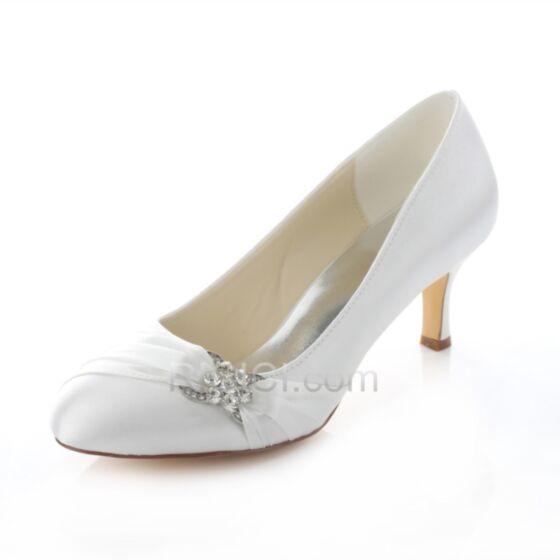 Highheels 7 cm Weiß Sommer Satin Strasssteine Brautjungfern Braut Schuhe Stilettos Pumps