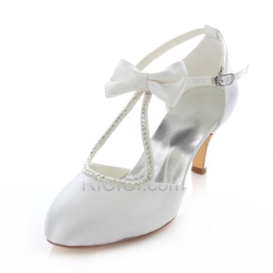 Sommer Braut Brautjungfern Schuhe Highheels Weiß Schleife Strasssteine Knöchelriemen T Strap 7 cm Stilettos Sandalen