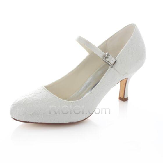 Mittel-Heels Spitzen Satin Weiß Knöchelriemen Braut Brautjungfern Pumps Highheels Stilettos Schuhe Damen 6 cm