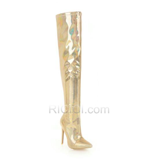 Mit Absatz Stilettos 12 cm High Heels Gold Overknee Stiefel Glitzernden Stiefel