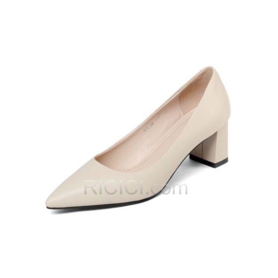 Mit Absatz Business Schuhe Klassisch Blockabsatz Spitz Zeh Stöckelschuhe Stilettos 5 cm Creme Kitten Heels 2018