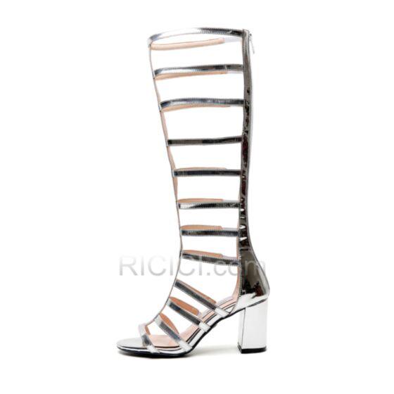 Sandaletten Wadenhohe Stiefel Römers Sexy Blockabsatz Chunky Heel
