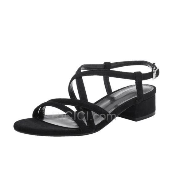 Sandaletten Mit 3 cm Absatz Blockabsatz Römers Wildleder Schwarz Leder Chunky Heel Riemchen