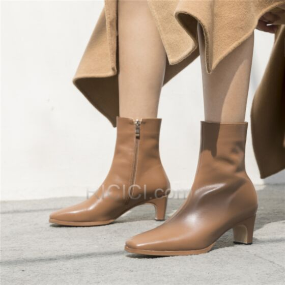 Eckigem Stiefel Damen Stiefeletten Stilettos Gefütterte Braun Lack Kitten Heels 5 cm