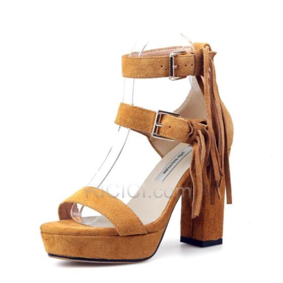 Chunky Heel 3 inch Quaste Mit Absatz Wildleder Kamel Riemchen Sandaletten Bohemian Blockabsatz High Heel