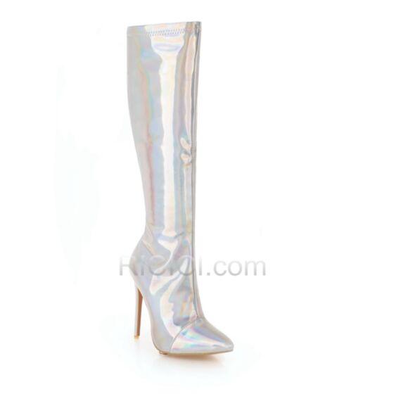 Stilettos Glitzernden Stiefel Hohe Stiefel High Heels Spitz Zeh 12 cm Kniehohe Silber