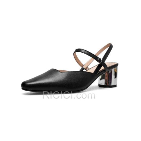 Schwarz Leder Mittel Heels Mit Absatz Knöchelriemen Sandaletten Damen Chunky Heel