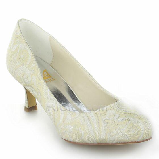 6 cm Stilettos Weiß Absatzschuhe Brautjungfer Schuhe Mittel Heels Stickerei Spitzen