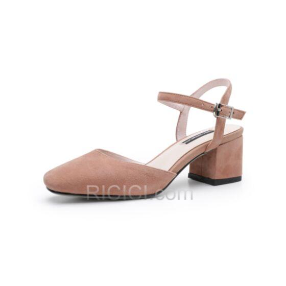 5 cm Kitten Heel Lyserosa Leder Sandaletten Chunky Heel