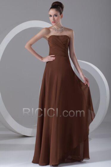 Bandeau Chocolate Bridesmaid Wedding Guest Dress Chiffon Simple Flounce Empire