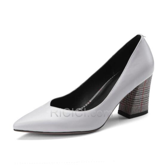 Tacon Medio 7 cm Pata De Gallo Zapatos Tacones Clasicos Tacon Ancho Grises De Piel Vestido De Oficina