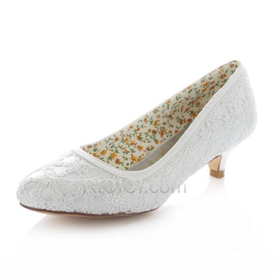 Zapatos Tacon Con Encaje Zapatos Novia Satin Stiletto De Punta Fina Blanco Tacon Bajo