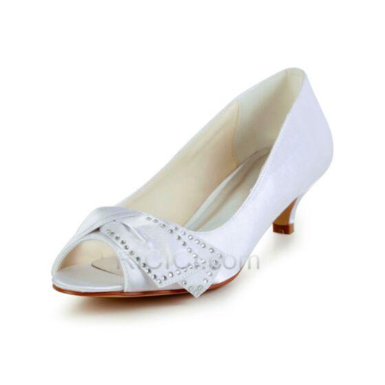 Tacon Medio Blancos Peep Toe Zapatos Para Novia De Saten Zapatos Tacon Stilettos